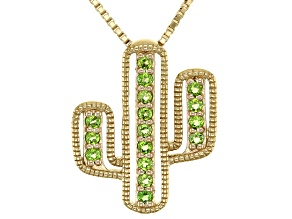 Green Chrome Diopside 18k Yellow Gold Over Sterling Silver Cactus Pendant with Chain 0.27ctw