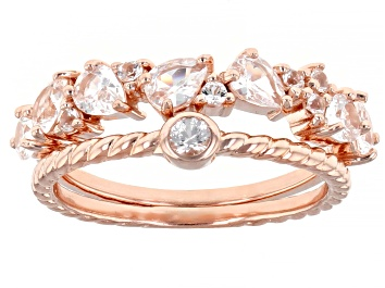 Picture of White Lab Created Sapphire 18K Rose Gold Over Sterling Silver Set of 2 Rings. 1.25ctw