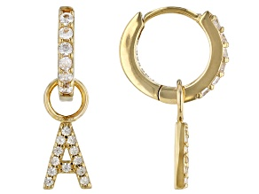 """White Zircon 18k Yellow Gold Over Sterling Silver """"A"""" Initial Dangle Earrings. 0.37ctw"""