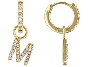 """White Zircon 18k Yellow Gold Over Sterling Silver """"M"""" Initial Dangle Earrings. 0.48ctw"""