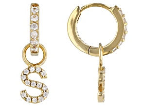 """White Zircon 18k Yellow Gold Over Sterling Silver """"S"""" Initial Dangle Earrings. 0.40ctw"""