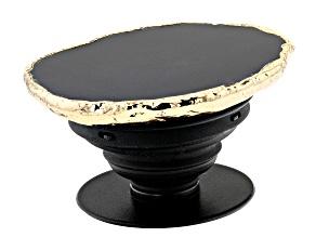 Black Agate Gold Tone Phone Grip