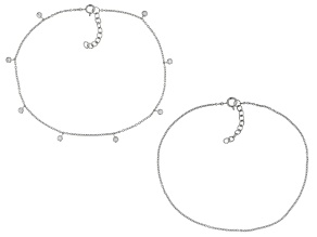 White Zircon Rhodium Over Sterling Silver Set of 2 Anklets 0.37ctw