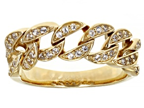 White Lab Created Sapphire 18k Yellow Gold Over Sterling Silver Chain Link Style Ring. 0.30ctw