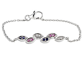 Lab Created Blue Sapphire Rhodium Over Sterling Silver Bracelet 0.14ctw