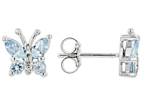 Blue Topaz Rhodium Over Sterling Silver Butterfly Earrings 0.85ctw
