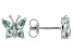 Green Lab Created Spinel Rhodium Over Sterling Silver Butterfly Earrings 0.78ctw