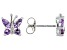 Lavender Amethyst Rhodium Over Stelring Silver Butterfly Earrings 0.67ctw