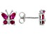 Red Lab Created Ruby Rhodium Over Sterling Silver Butterfly earrings 0.78ctw