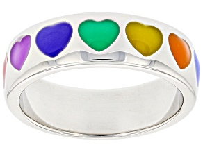 Multi-Color Enamel Rhodium Over Sterling Silver Heart Band Ring