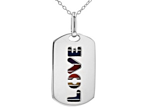 """Multi-Color Enamel Rhodium Over Sterling Silver 2 Piece Overlay """"Love"""" Dog Tags With Chain"""