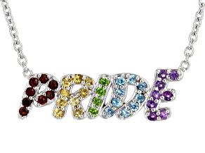 "Red Garnet Rhodium Over Sterling Silver ""Pride"" Necklace .32ctw"
