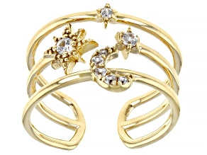 Round White Zircon 18k Yellow Gold Over Sterling Silver Orbital open Cuff Ring 0.17ctw