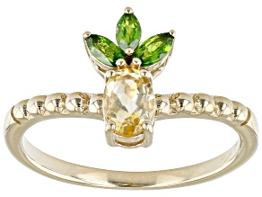 Yellow Citrine with Russian Chrome Diopside 18k Yellow Gold Silver Pineapple Ring 0.72ctw