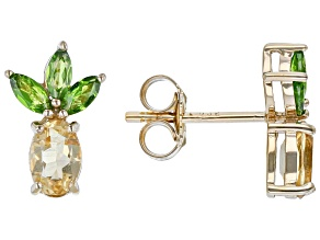 Yellow Citrine 18k Yellow Gold Over Sterling Silver Pineapple Earrings 1.44ctw
