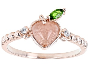 Rose Quartz with Chrome Diopside And Zircon 18k Rose Gold Over Silver Peach Ring 0.13ctw
