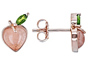 Rose Quartz 18k Rose Gold Over Silver Peach Earrings 0.18ctw