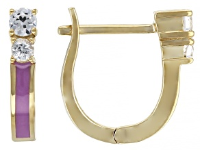 White Lab Created Sapphire With Lavender Enamel 18k Yellow Gold Over Silver Earrings 0.36ctw