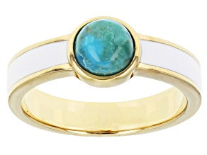 Blue Turquoise 18k Yellow Gold Over Sterling Silver Solitaire Ring