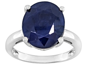 Blue Sapphire Rhodium Over Sterling Silver Solitaire Ring 4.50ct