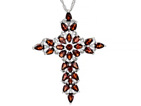 Red Garnet Rhodium Over Sterling Silver Pendant With Chain 5.15ctw