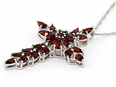 Red Garnet Sterling Silver Pendant With Chain 5.15ctw