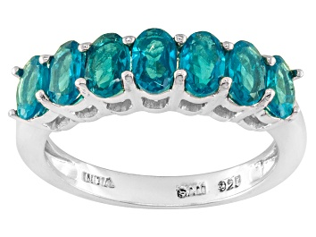 Picture of Blue Neon Apatite Rhodium Over Sterling Silver Ring 1.45ctw