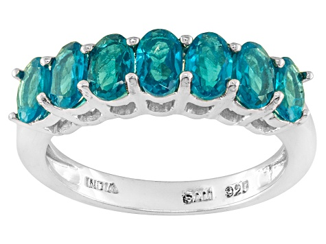 Blue Neon Apatite Sterling Silver Ring 1.45ctw
