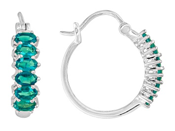 Picture of Blue Neon Apatite Sterling Silver Hoop Earrings 2.20ctw