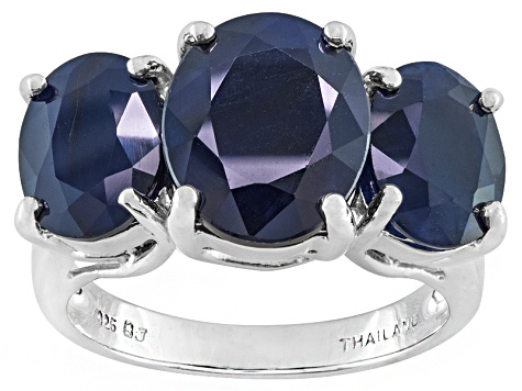Rhodium Plated Sterling Silver Ring With Polished Blue Berry Quartz And Black Spinel