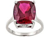 Lab Ruby Sterling Silver Ring 6.07ct