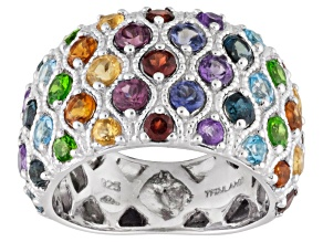 Multi-Gem Sterling Silver Ring 2.25ctw