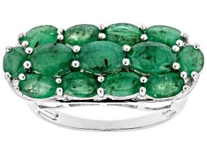 Sakota Emerald Rhodium Over Sterling Silver Ring 2.84ctw
