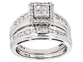White Diamond 10k White Gold Bridal Set 1.00ctw