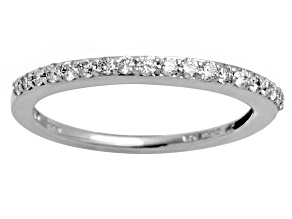 Diamond .25ctw Round Rhodium Over Sterling Silver Band.
