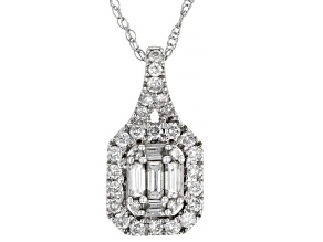 White Diamond 10k White Gold Pendant .40ctw