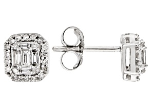 White Diamond 10k White Gold Earrings .25ctw