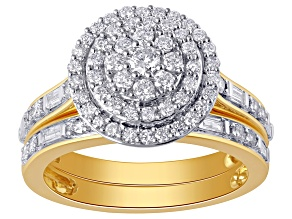 White Diamond 10k Yellow Gold Bridal Set 1.00ctw