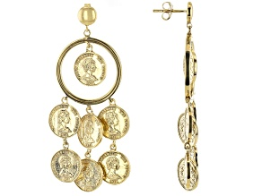 18k Gold Over Silver Coin Replica Earrings