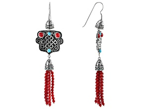 Mix Stone Rhodium Over Sterling Silver Bead Tassel Earrings
