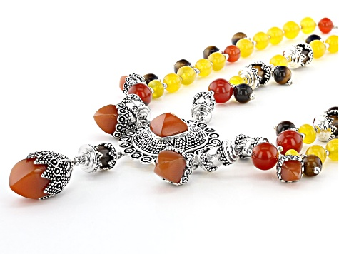 Red Onyx Rhodium Over Silver Bead Necklace