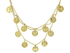 18k Gold Over Silver Coin Replica Necklace
