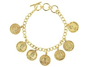 18k Gold Over Silver Coin Replica Bracelet