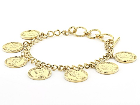 18k Gold Over Silver Coin Replica Bracelet