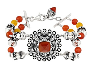 Red Onyx Rhodium Over Silver Bead Bracelet