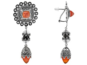 Red Onyx Rhodium Over Silver Earrings