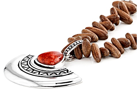 Red Sponge Coral Rhodium Over Silver And Wood Enhancer And Necklace