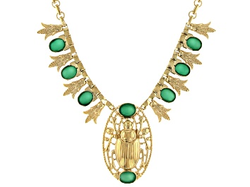Picture of Green Onyx 18k Yellow Gold Over Brass Scarab Necklace