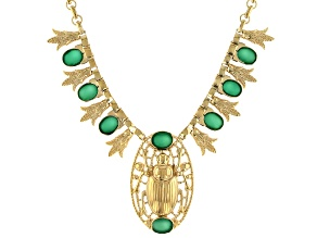 Green Onyx 18k Yellow Gold Over Brass Scarab Necklace