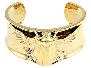 18k Gold Over Brass Scarab Cuff Bracelet